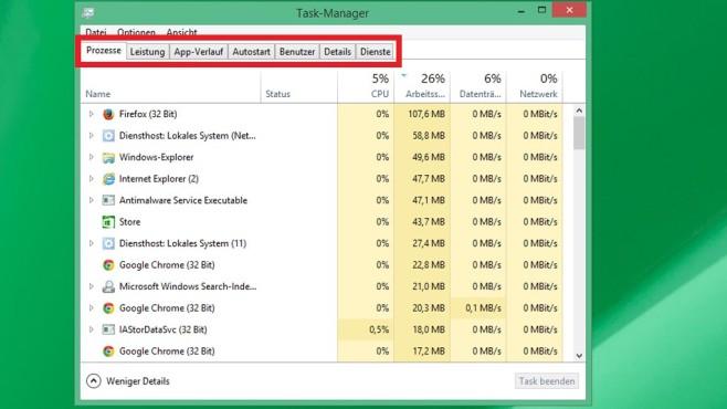 Task-Manager: Alle aktiven Programme im Blick ©COMPUTER BILD