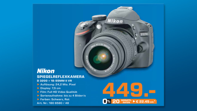 Nikon D3200 Kit 18-55 mm [Nikon G VR II] © Saturn