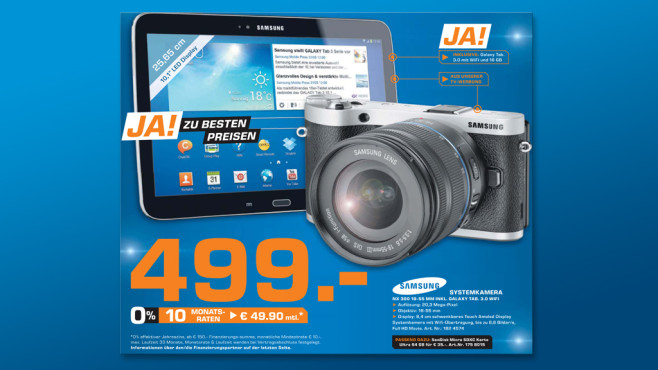 Samsung NX300 Kit 18-55 mm [OIS III] und Samsung Galaxy Tab 3 (10.1) 16 GB WiFi © Saturn