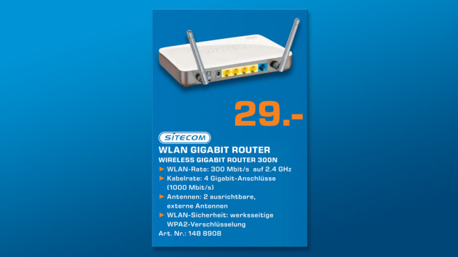 Sitecom Wireless Gigabit Router N300 X4 (WLR-4000) © Saturn