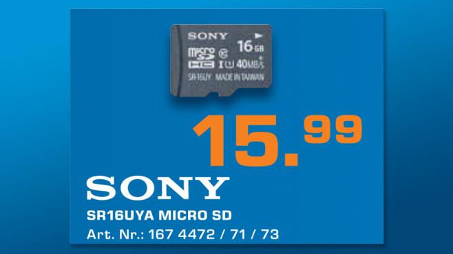 Sony microSDHC 16GB Class 10 UHS-I (SR16UYA) ©Saturn