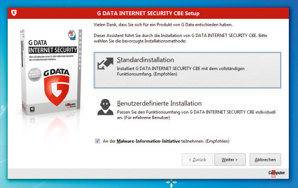 G Data Internet Security CBE Installation © COMPUTER BILD