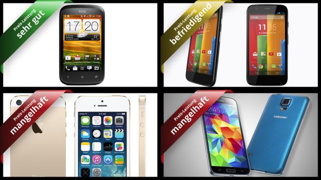 Top-Geräte für wenig Geld: Die Smartphone-Preis-Leistungs-Hits ©HTC, Motorola, Apple, Samsung
