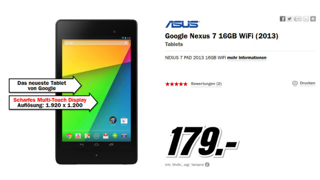 Asus Google Nexus 7 (2013) © Media Markt