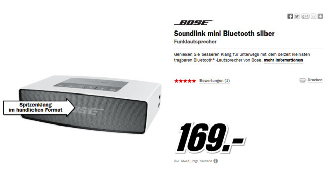 Bose SoundLink Mini Bluetooth Speaker © Media Markt