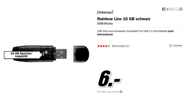 Intenso Rainbow Line 16GB © Media Markt