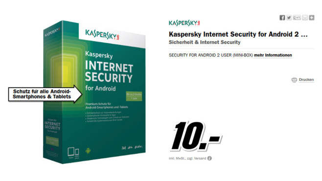Kaspersky Security for Android 2014 (2 User) (DE) (Box) © Media Markt