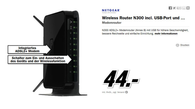Netgear Wireless-N 300 Router + DSL Modem (DGN2200B) © Media Markt