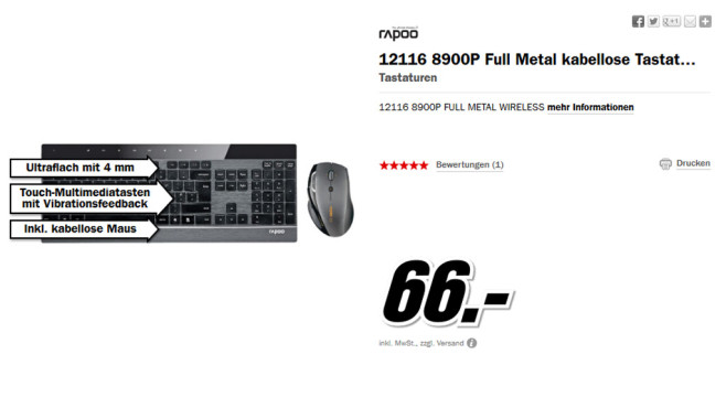 Rapoo Wireless Laser Combo 8900p © Media Markt