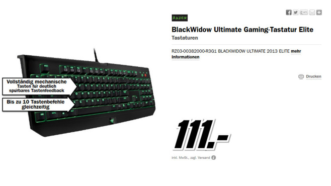 Razer BlackWidow DE © Media Markt