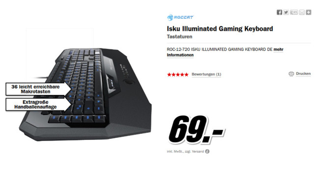 Roccat ISKU Illuminated Gaming Keyboard DE © Media Markt