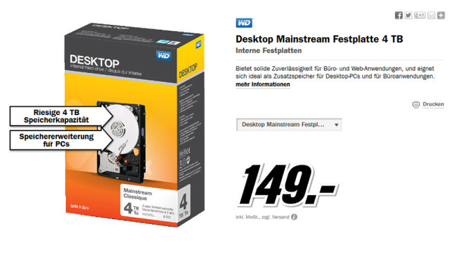 Western Digital Desktop Mainstream SATA Retail 4TB (WDBH2D0040HNC) © Media Markt