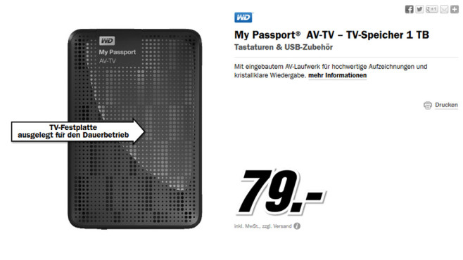 Western Digital My Passport AV-TV 1TB © Media Markt
