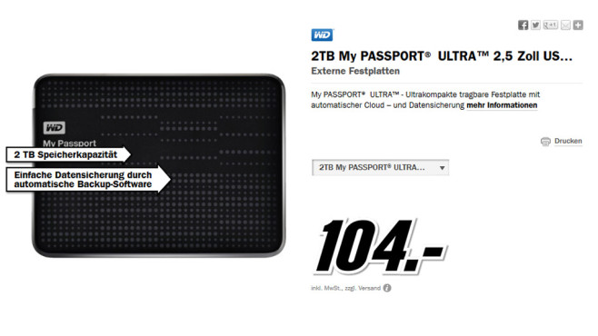 Western Digital My Passport Ultra 2TB © Media Markt