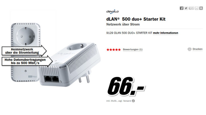 devolo dLAN 500 duo+ Starter Kit © Media Markt