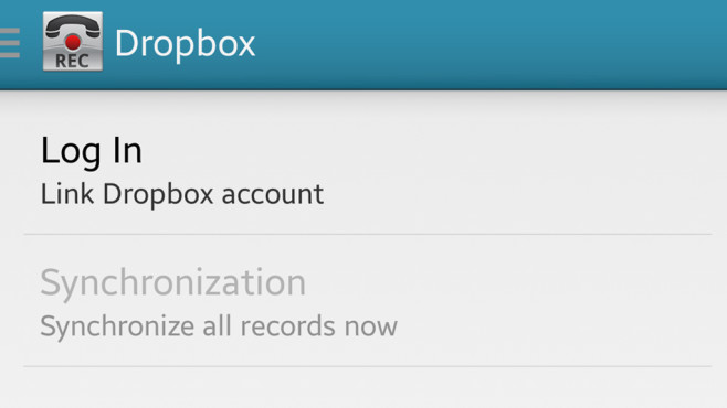 Call Recorder: Dropbox (nur Pro-Version) © Clever Mobile