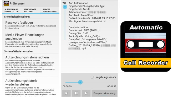 Automatischer Call Recorder © Global effect