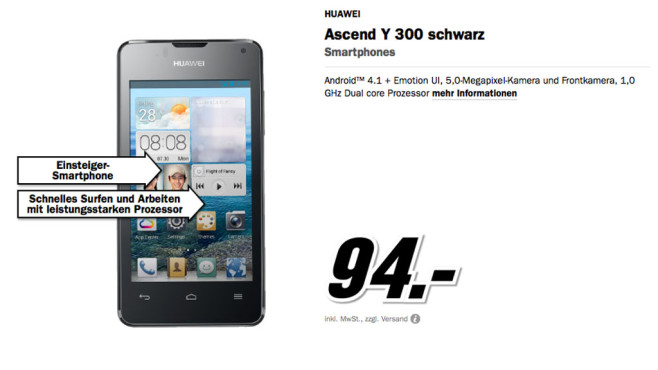 Huawei Ascend Y300 © Media Markt