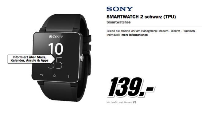 Sony SmartWatch 2 SW2 mit Silikon-Armband ©Media Markt