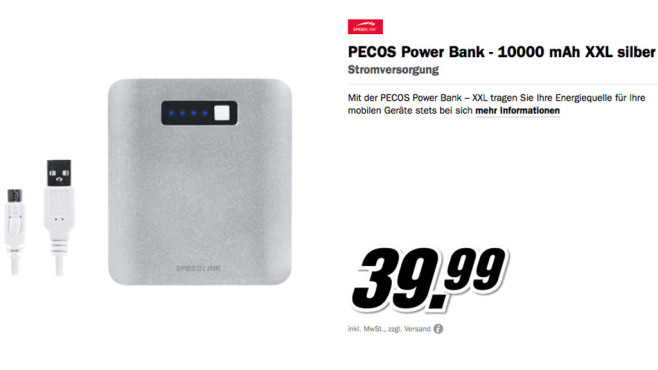 Speedlink PECOS Power Bank XXL © Media Markt