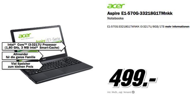Acer Aspire E1-570G-33218G1TMnkk ©Media Markt