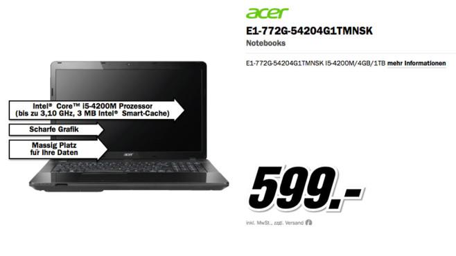 Acer E1-772G-54204G1TMNSK ©Media Markt
