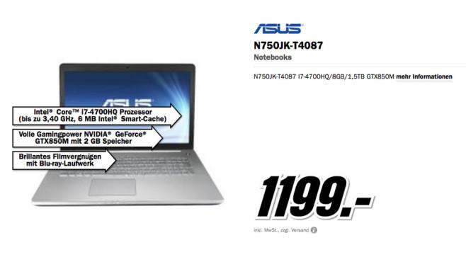 Asus N750JK-T4087 ©Media Markt