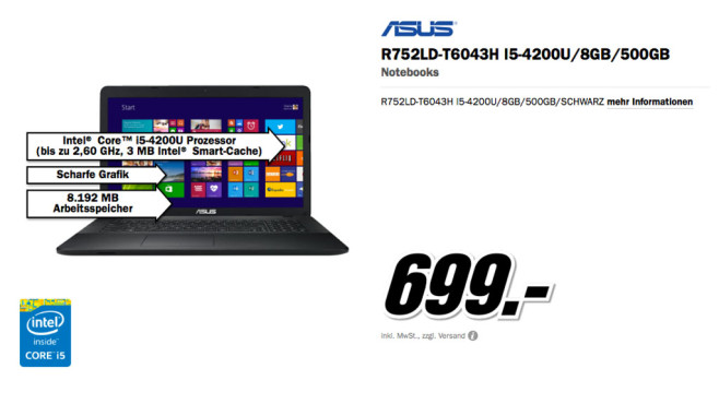 Asus R752LD-T6043H ©Media Markt