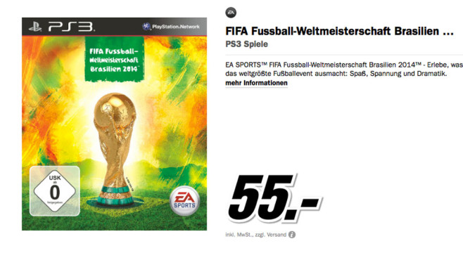 FIFA Fussball-Weltmeisterschaft Brasilien 2014 für PS3 ©Media Markt