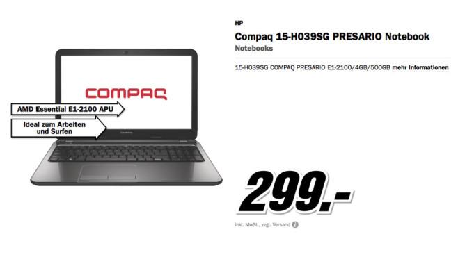 HP Compaq 15-H039SG Presario ©Media Markt