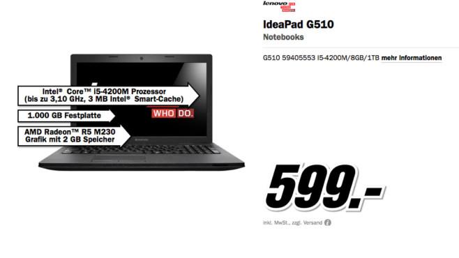 Lenovo IdeaPad G510 ©Media Markt