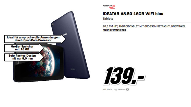 Lenovo IdeaTab A5500 ©Media Markt