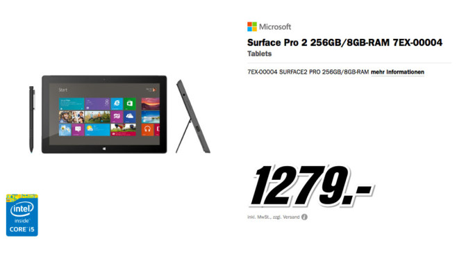 Microsoft Surface Pro 2 256GB ©Media Markt