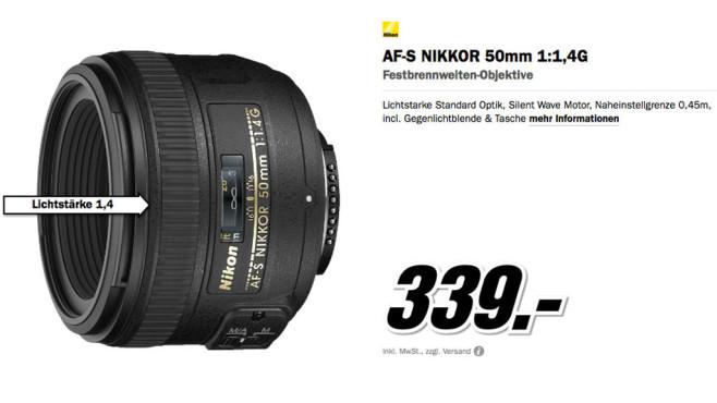 Nikon AF-S Nikkor 50mm f1.4 G ©Media Markt
