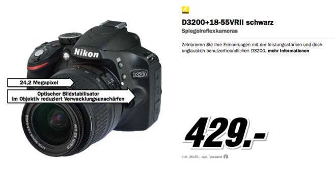 Nikon D3200 Kit 18-55 mm [Nikon G VR II] ©Media Markt