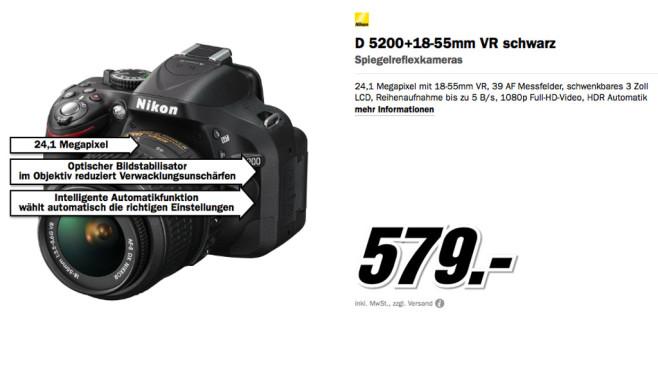 Nikon D5200 Kit 18-55 mm [Nikon VR] ©Media Markt