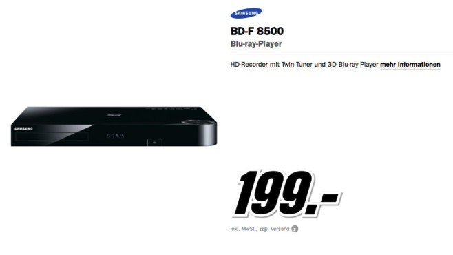 Samsung BD-F 8500 ©Media Markt