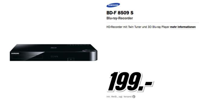Samsung BD-F8509S ©Media Markt