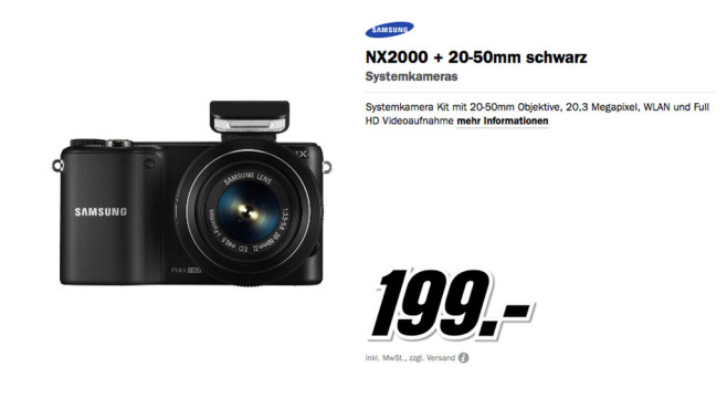 Samsung NX2000 Kit 20-50 mm (schwarz) ©Media Markt
