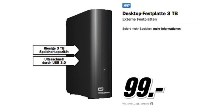 Western Digital Elements Desktop 3TB (WDBWLG0030HBK) ©Media Markt
