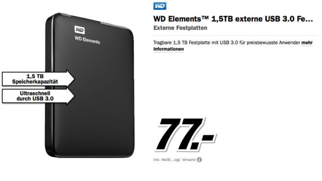 Western Digital Elements Portable 1.5TB ©Media Markt