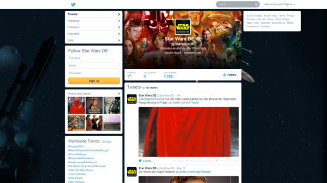 "Der deutsche ""Star Wars""-Account auf Twitter © Lucasfilm Ltd."