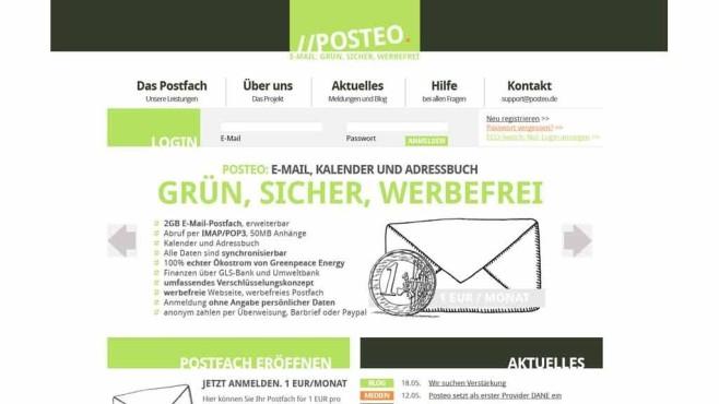 Posteo Startbildschirm ©Screenshot Posteo