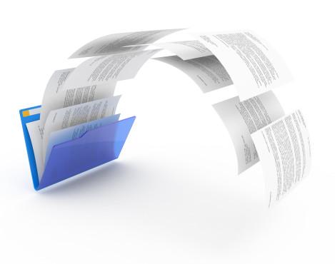Dokumente in blauem Ordner ©Modella-Documents from blue folder---Fotolia.com