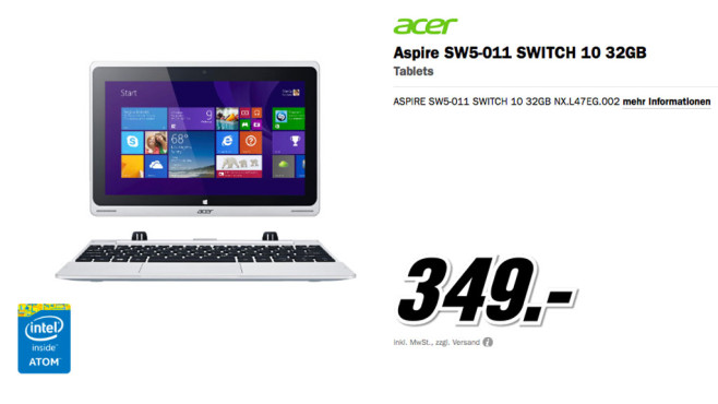 Acer Aspire Switch 10 (NX.L47EG.002) ©Media Markt