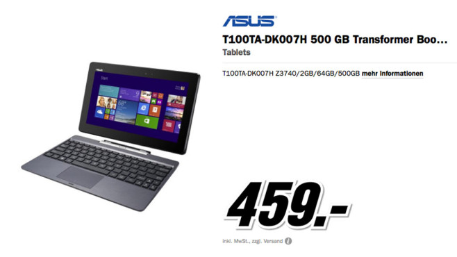 Asus Transformer Book T100TA-DK007H © Media Markt
