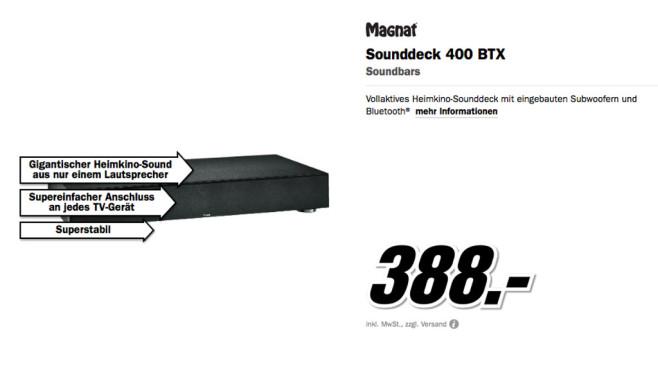 Magnat Sounddeck 400 BTX ©Media Markt