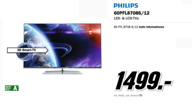 Philips 60PFL8708S/12 ©Media Markt