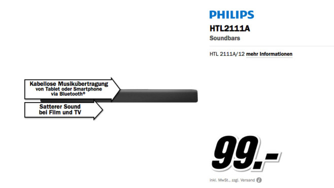 Philips HTL2111A © Media Markt