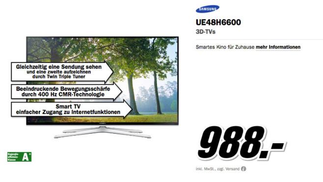 Samsung UE48H6600 ©Media Markt